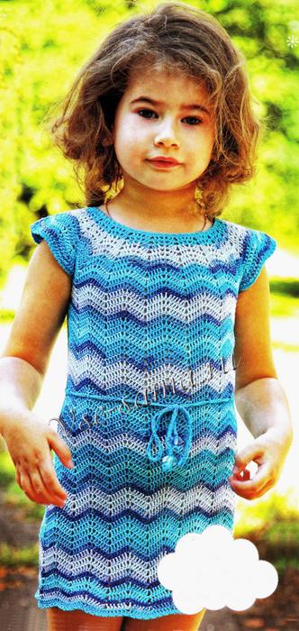 Платье крючком узор зигзаг девочке