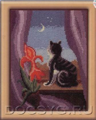 схема вышивки Кошка на окошке (336x420, 106Kb)
