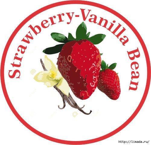 Strawberry-Vanilla Bean Jam label (500x479, 127Kb)