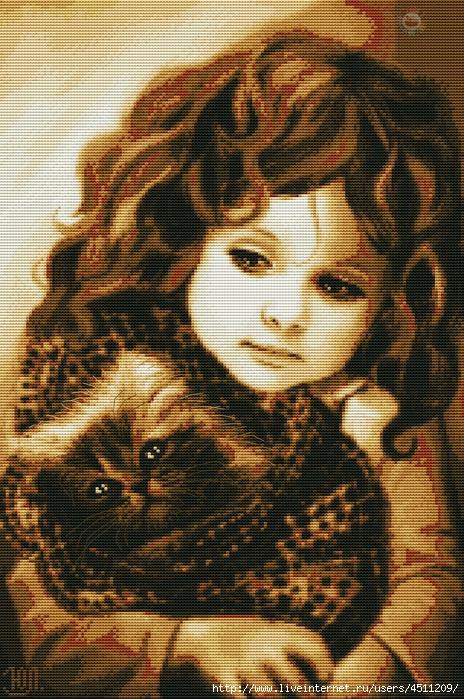 Девочка с котиком (464x700, 397Kb)