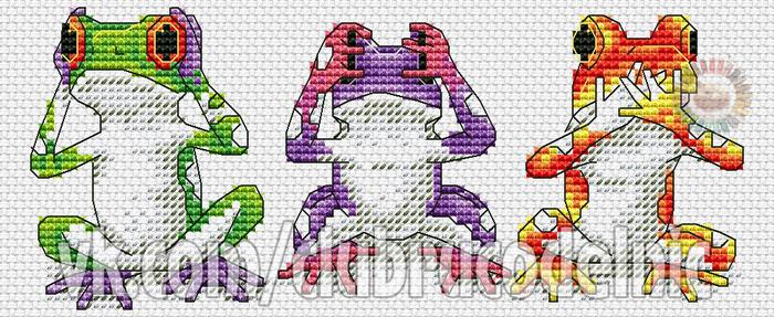 Tree Frog Trio (700x287, 300Kb)