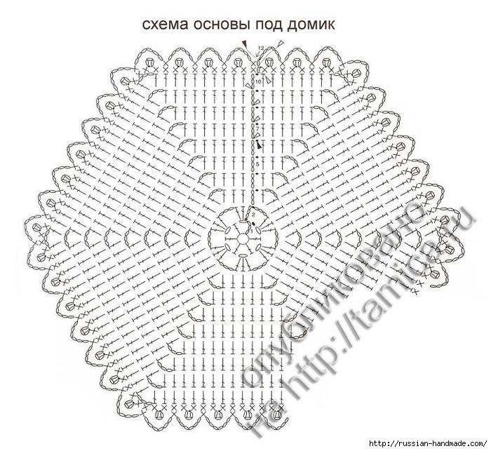 Домик - грелка на чайник крючком (4) (700x643, 302Kb)