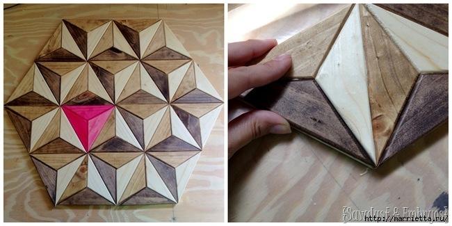 Геометрическое панно из деревянных треугольников (12) (650x325, 149Kb)