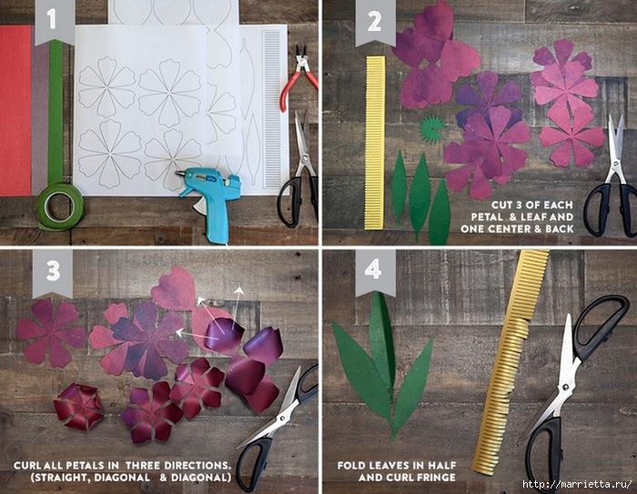 ПИОНЫ - цветы из декоративной металлизированной бумаги для скрапбукинга (4) (700x543, 334Kb)