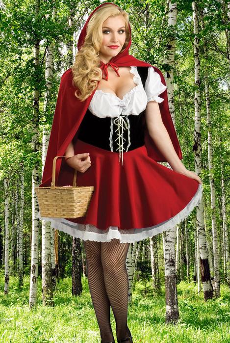 Женский фотошаблон - Красная шапочка в березовой роще (469x700, 536Kb)
