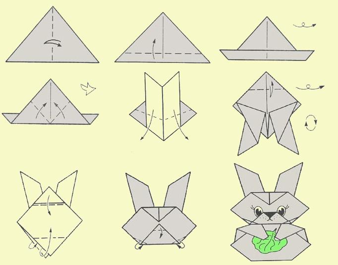 Как сделать из бумаги голову зайчика