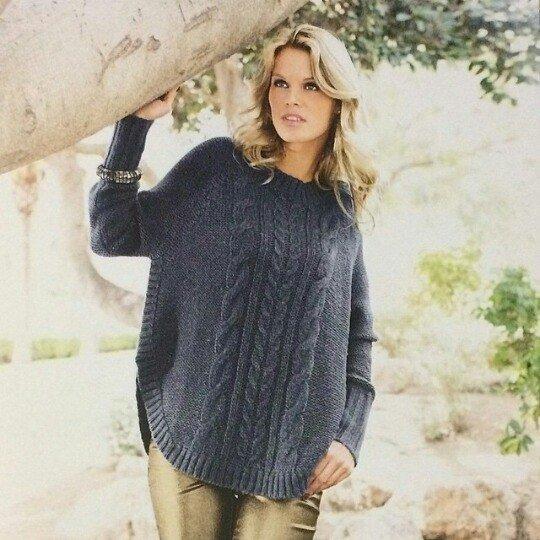 Пуловер с закругленным низом