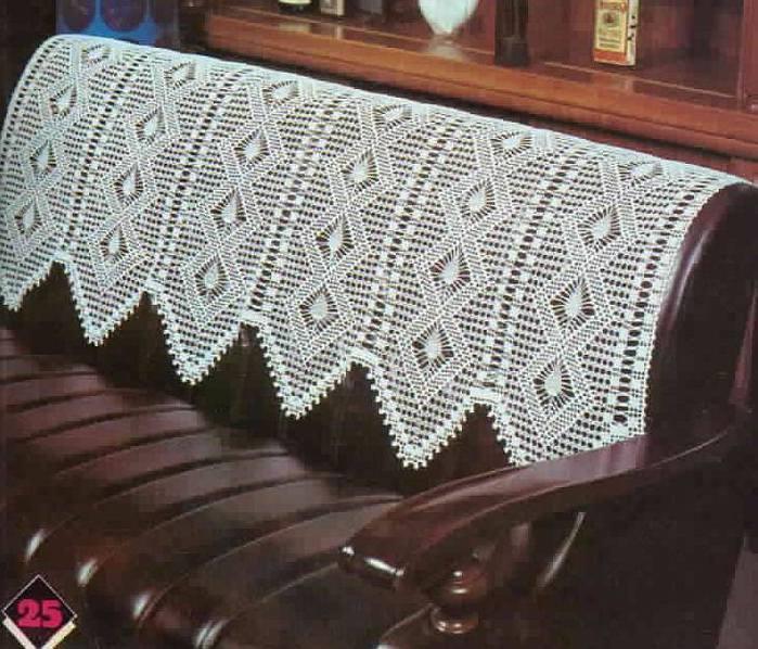 накидки на кресла крючком схемы