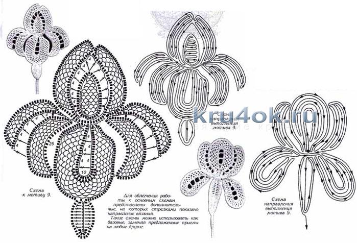 Вязание крючком цветка ириса