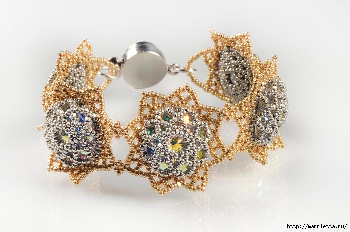 Звездный браслет Шарлотта. Плетение из бисера (25) (700x464, 236Kb)
