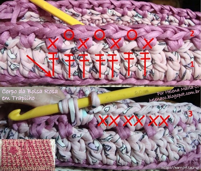 Вязание трикотажными полосками. Три сумочки со схемами (17) (640x545, 341Kb)