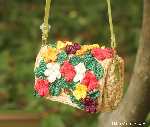 Вязание крючком. Летние сумочки с цветами (10) (498x422, 128Kb)