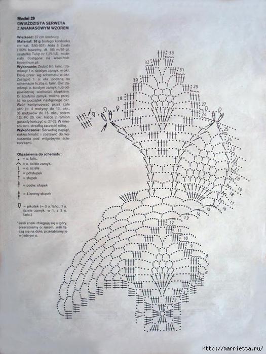 Круглые салфетки крючком. Схемы (8) (525x700, 259Kb)