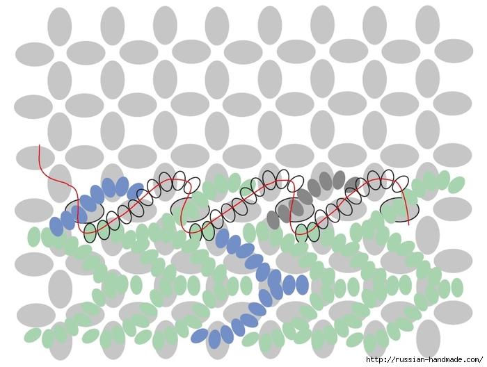 Ментоловый браслет из бисера. Схемы плетения (28) (700x528, 192Kb)