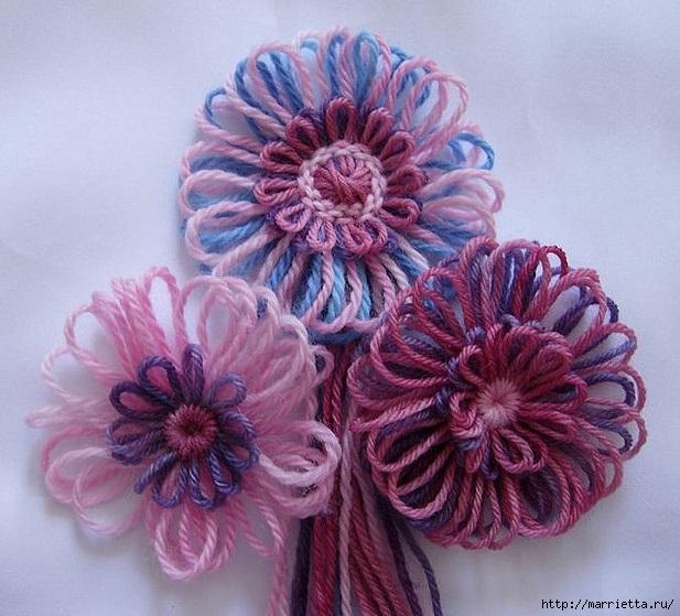Цветы из цветного шпагата. Плетение на луме (2) (617x559, 219Kb)