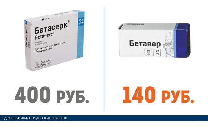 Бетасерк (600 руб.) == Бетавер  (140 руб.)