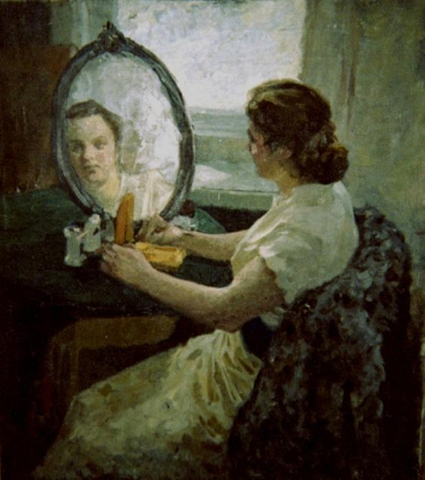 Е.А. Сорокин (1929-1963). Женщина в белом, нач. 50-х г.г. (620x700, 413Kb)