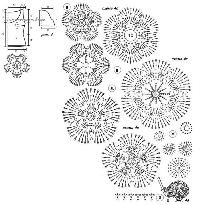 Вязание цветов крючком 75
