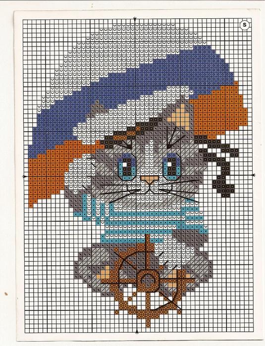 Вышивка. Кот-моряк