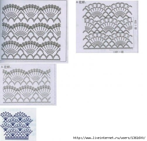Схемы комбинированного вязания крючком 742