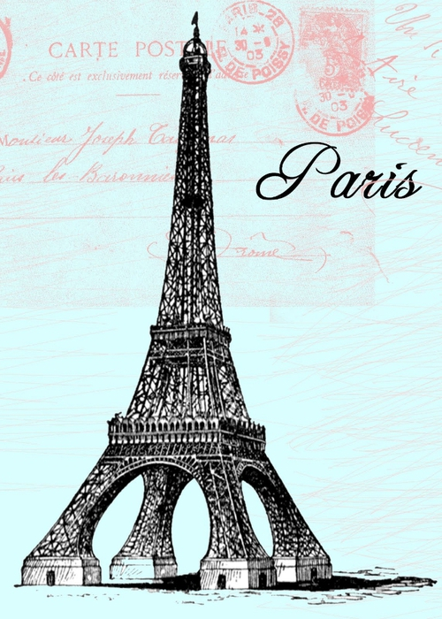 free vintage digital stamp_eiffel tower (500x700, 272Kb)