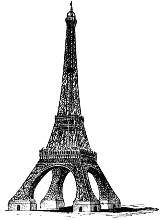 free vintage digital stamp_eiffel tower (513x700, 104Kb)