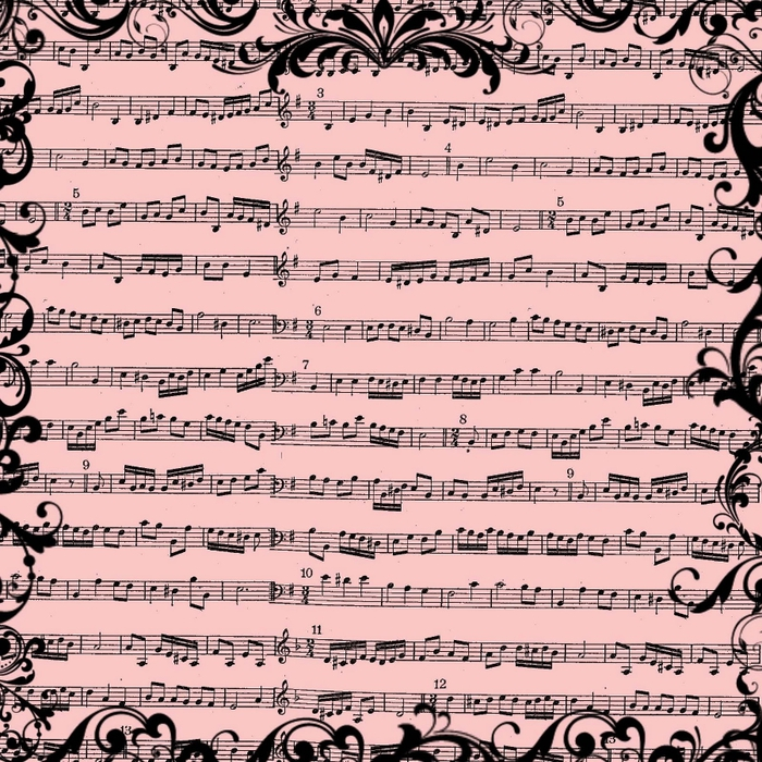 free digital scrapbook paper_pink music sheet background (700x700, 431Kb)