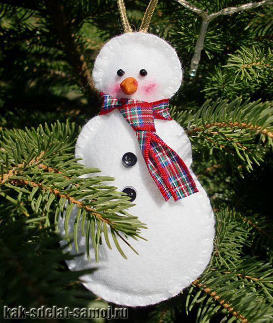 Как сделать игрушку на елку снеговика