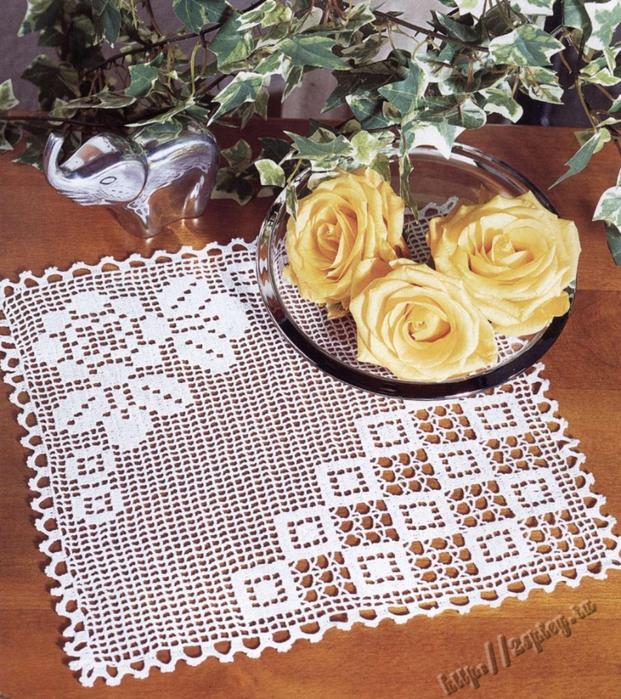 Скатерть связанная филейным вязанием