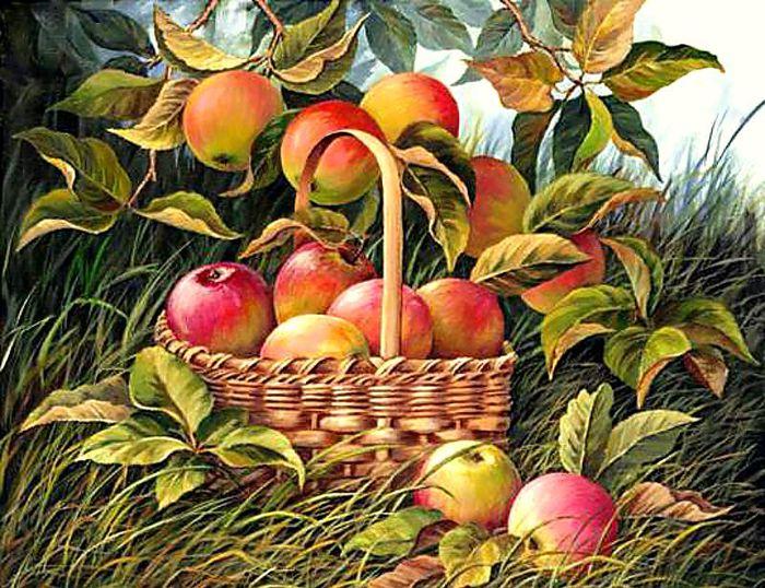 яблоки.  Авторы.  300x231 крест.  Марка нитей.  Схемы вышивки. savicha. фрукты. дары осени.  Близнецы.
