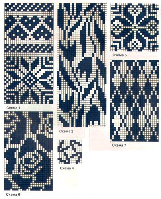 Схема жаккардовых рисунков для вязания спицами