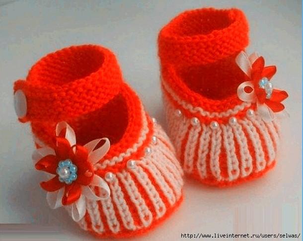 Вязание туфельки с спицами 161