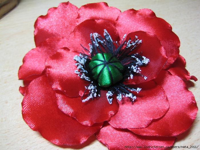 Цветы из атласных лент броши ободки