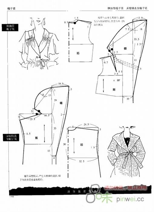 Выкройка капюшона-воротника для пальто