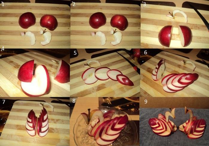 Как из яблоко сделать лебедя