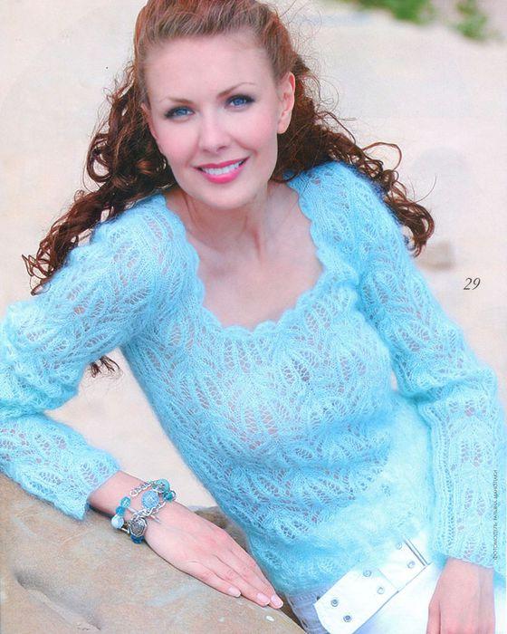 Голубой пуловер (вязание