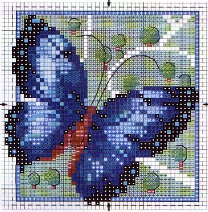 Схемы вышивки бабочек крестом.
