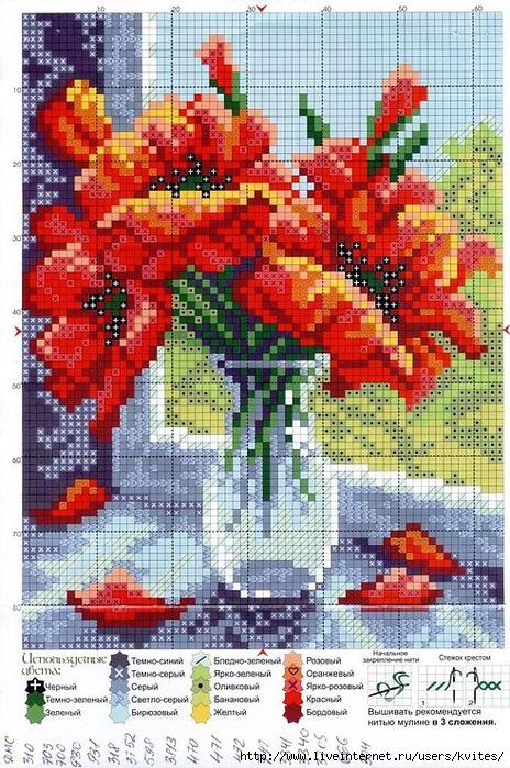 Вышивка крестом схемы цветы в вазе 58