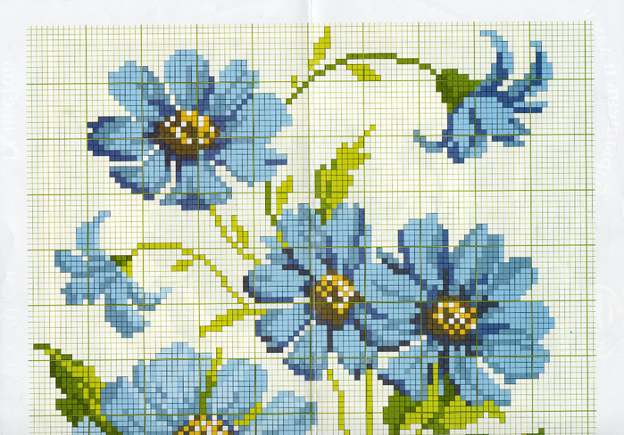 Вышивка синие цветы схема 50