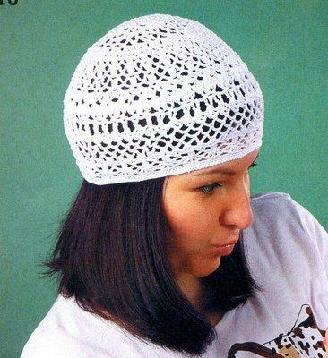 Белый ажурный берет и шапочка