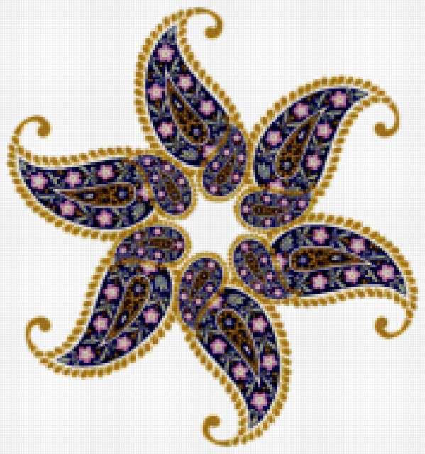 восточный цветок вышивкa