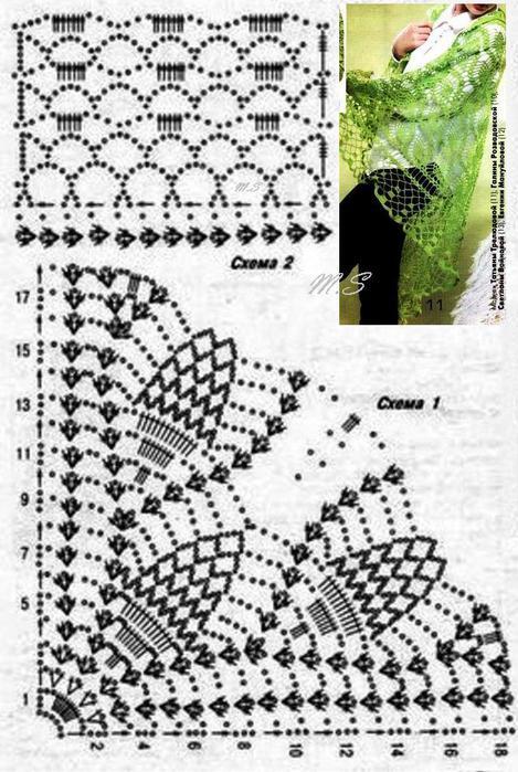 Шаль с дубовыми листьями крючком схема вязания