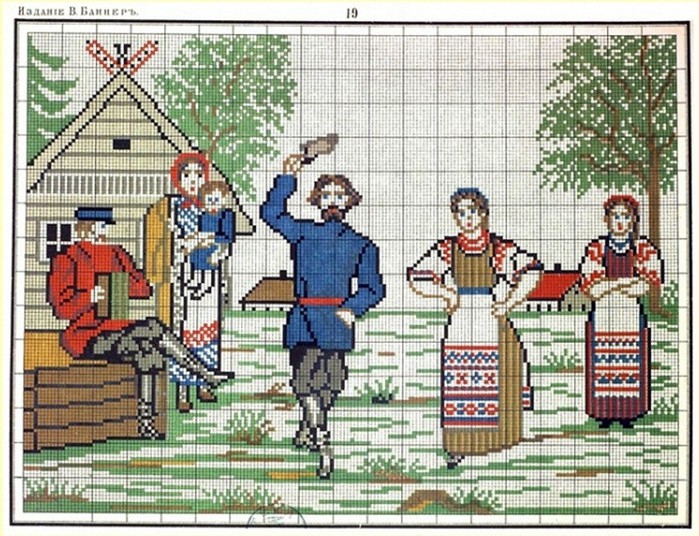 Весенний хоровод - Схема для вышивания крестиком