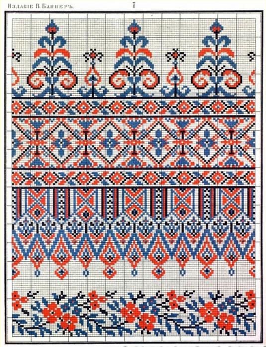 Русская народный орнамент вышивка крестом