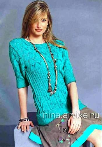 Пуловер С Коротким Рукавом Вязаный