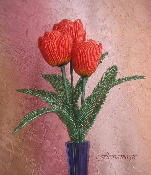 Тюльпан из бисера мастер класс с пошаговым