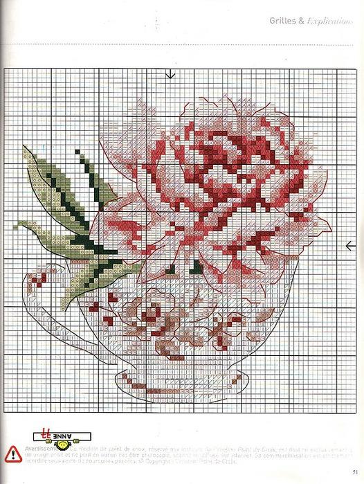 Вышивка розы в чашке