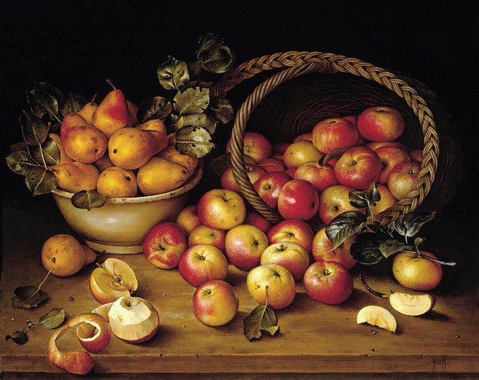 Basket of Apples Pears on Table 66x81cms Oil on Canvas 1991 (700x555, 114Kb)