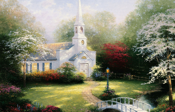 Hometown Chapel, Thomas Kinkade (596x380, 335Kb)