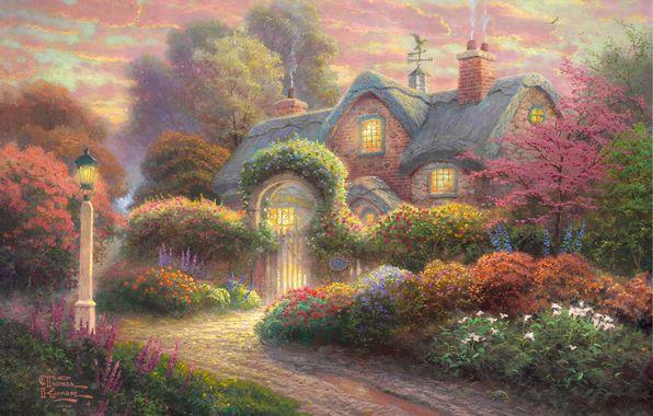 Rosebud Cottage, Thomas Kinkade (596x380, 55Kb)